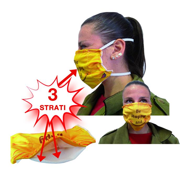 Comoda mascherina con tasca per fazzolettino intercambiabile